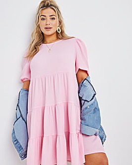 Pink Tiered Waffle Smock Dress