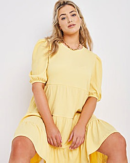 Yellow Tiered Waffle Smock Dress