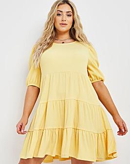 Yellow Tiered Waffle Smock Dress