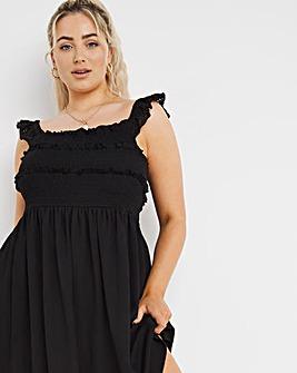Black Broderie Waffle Shirred Dress