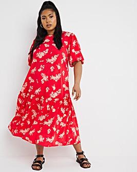 Red Floral Dropped Hem Midi Dress