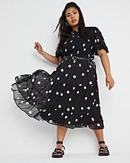 Mono Spot Shirred Chiffon Tiered Midi Dress