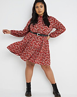 Ditsy Print Tiered Smock Dress