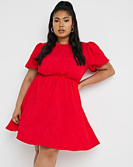 Red Textured Puff Sleeve Smock Dress