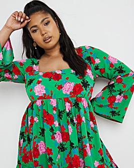 Green Floral Square Neck Smock Dress