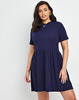 Navy Ribbed Smock Dress with Pockets