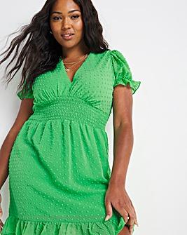Green Short Sleeve Dobby Skater Dress