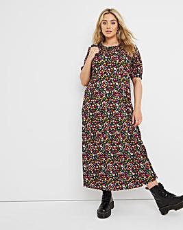 Ditsy Print Supersoft Short Sleeve Midi Dress