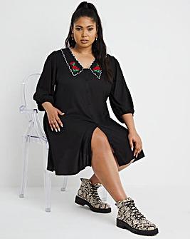Black Embroidered Collar Tea Dress