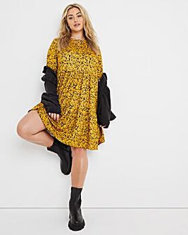 Yellow Floral Supersoft Tiered Smock Dress
