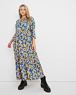 Daisy Print Supersoft Tiered Midi Dress