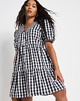Gingham Check Puff Sleeve Tiered Smock Dress with Contrast Collar