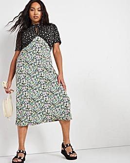 Mixed Floral Ditsy Midi Dress