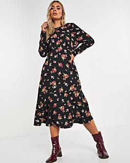 Black Floral Raglan Puff Sleeve Midi Dress