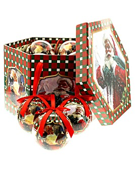 Winter Scene 14pc Haxagonal Bauble Box