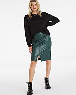 PU Pull On Midi Pencil Skirt