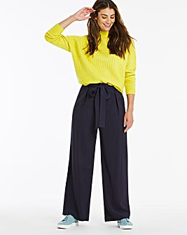 High Waist Belted Wide Leg Trousers Regular