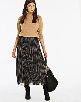 Flocked Spot Mesh Midi Skirt