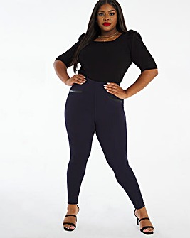 Ponte PU Trim Stretch Legging Regular