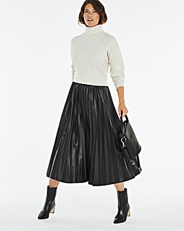 PU Pleated Midi Skirt
