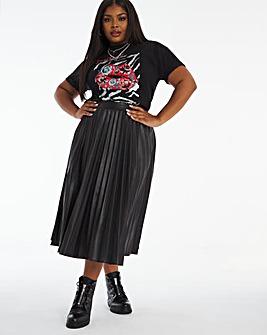 Faux Leather PU Pleated Midi Skirt