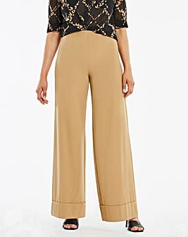 Deep Turn Up Wide Leg Trousers Long