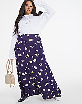 Print Stretch Jersey Maxi Skirt