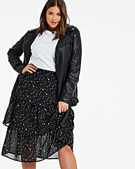 Star Print Tiered Midi Skirt