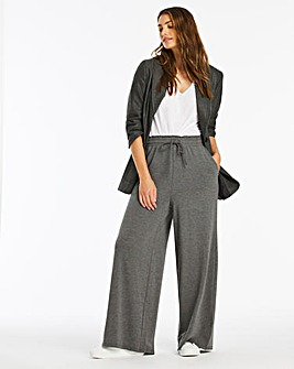 Tie Waist Jersey Wide Leg Trousers Regular