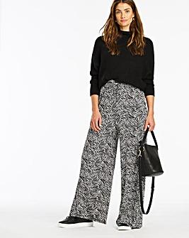 Mono Print Tie Waist Jersey Wide Trousers