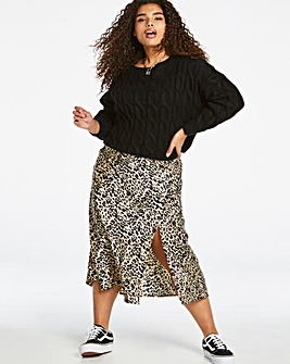 Leopard Satin Slip Midi Skirt with Side Split