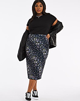 Navy Floral Full Midi Skirt