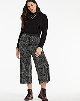 Spot Print Plisse Wide Culottes