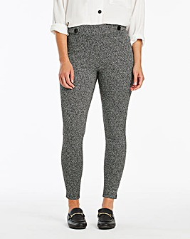 Textured Ponte Button Detail Leggings
