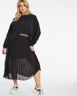 Black Pleated Skirt with Lurex Waistband