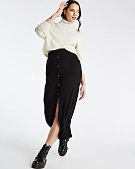Button Through Rib Maxi Skirt