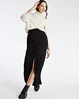 Black Button Through Rib Maxi Skirt