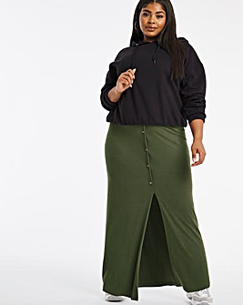 Button Through Rib Maxi Skirt
