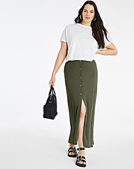 Khaki Button Through Rib Maxi Skirt