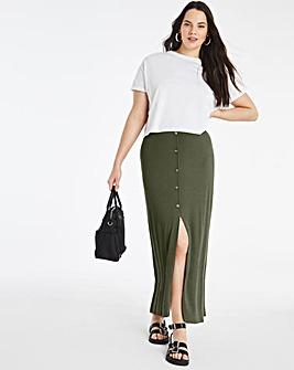 Khaki Button Through Rib Maxi Skirt