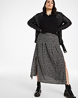 Ditsy Print Midi Skirt with Side Splits