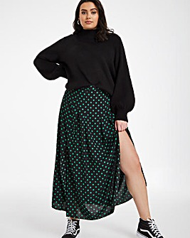 Spot Print Midi Skirt with Side Splits