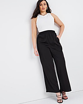 Black Shirred Waist Satin Wide Leg Trousers