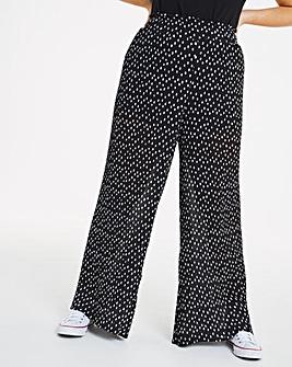 Wide Leg Plisse Trousers