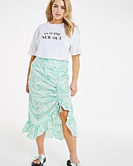 Green Animal Ruched Front Satin Midi Skirt