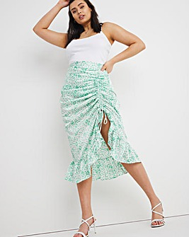 Green Animal Ruched Front Satin Midi Skirt