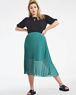 Green Pleated Midi Skirt with Waistband
