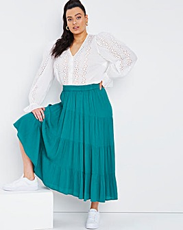 Emerald Green Crinkle Tiered Midi Skirt