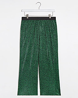 Animal Print Plisse Wide Culottes