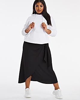Black Textured Wrap Tie Skirt
